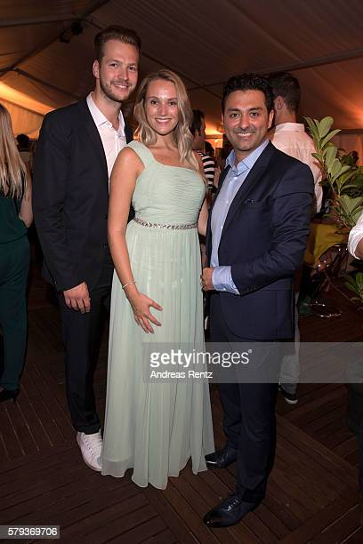 Marvin Albrecht Anna Hofbauer and Shahin Moghadam attend the Unique after party during Platform Fashion July 2016 at Areal Boehler on July 23 2016 in...