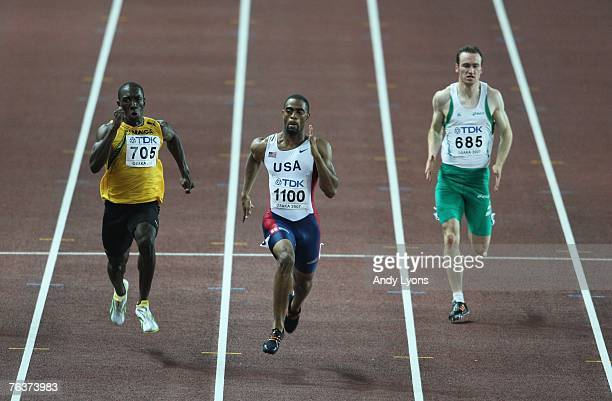 Marvin Anderson of Jamaica Tyson Gay of the United States of America and Paul Hession of Ireland compete in the Men's 200m semi final on day five of...
