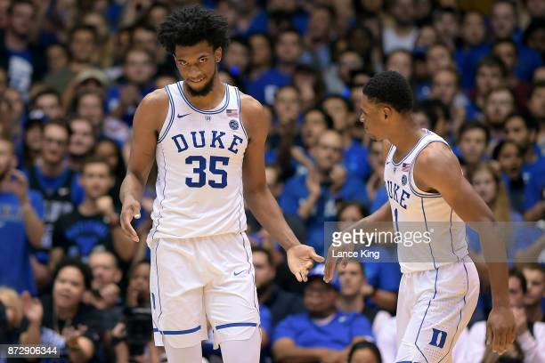 Marvin Bagley III and Trevon Duval of the Duke Blue Devils react during their game against the Elon Phoenix at Cameron Indoor Stadium on November 10...