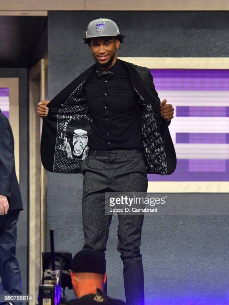 Marvin Bagley III celebrates after being selected number two overall by the Sacramento Kings during the 2018 NBA Draft on June 21 2018 at Barclays...