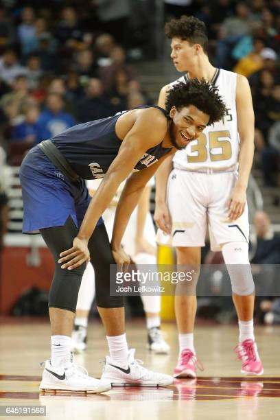 Marvin Bagley III of Sierra Canyon School is caught smiling before the game against Bishop Montgomery High School at the Galen Center on February 24...