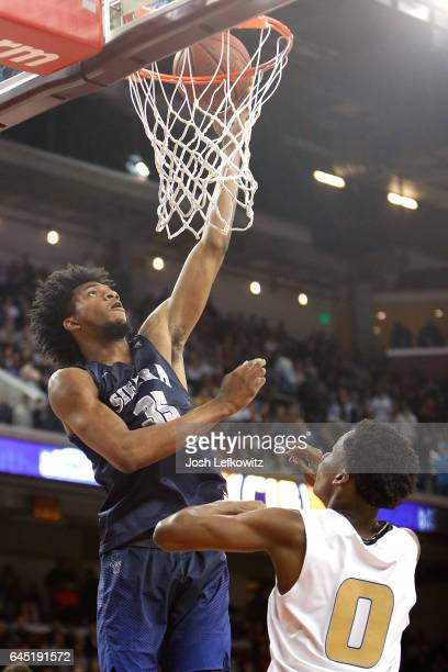 Marvin Bagley III of Sierra Canyon School is goes for the lay up during the game against Bishop Montgomery High School at the Galen Center on...