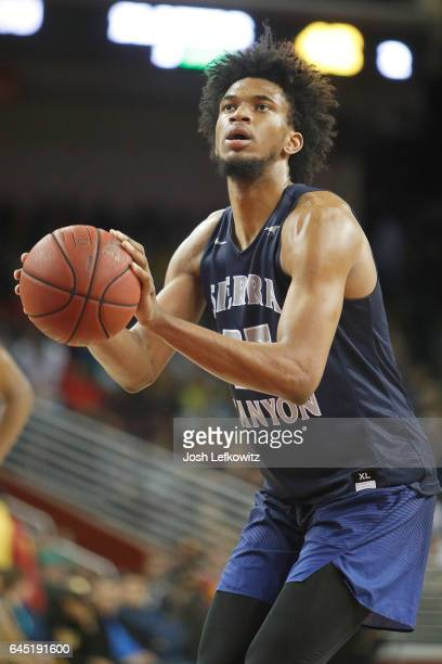 Marvin Bagley III of Sierra Canyon School shoots a free throw during the game against Bishop Montgomery High School at the Galen Center on February...