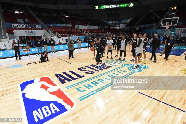 Marvin Bagley III of Team USA takes a half court shot during the 2019 NBA AllStar Rising Stars Practice and Media Availability on February 15 2019 at...
