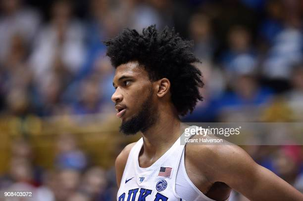 Marvin Bagley III of the Duke Blue Devils against the Pittsburgh Panthers during their game at Cameron Indoor Stadium on January 20 2018 in Durham...