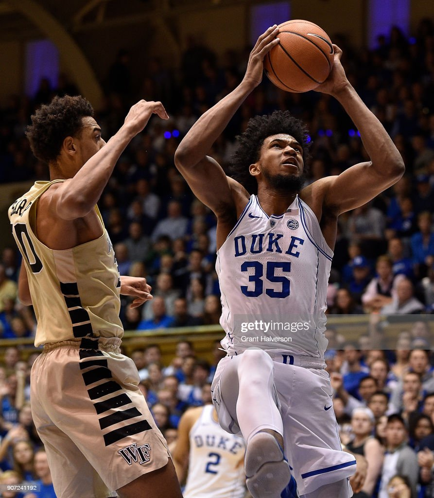 Marvin Bagley III #35 of the Duke Blue Devils against the Wake Forest Demon Deacons during their game at Cameron Indoor Stadium on January 13, 2018 in Durham, North Carolina. Duke won 89-71.