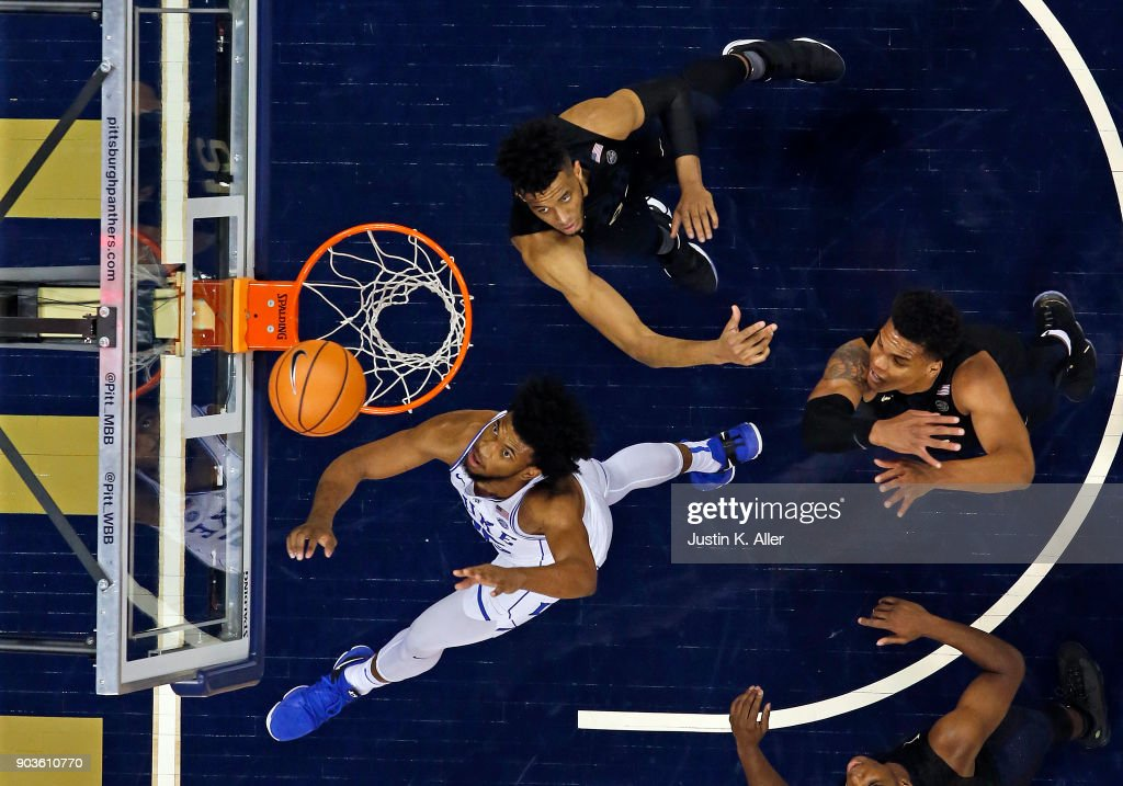 Marvin Bagley III #35 of the Duke Blue Devils battles for a rebound against the Pittsburgh Panthers at Petersen Events Center on January 10, 2018 in Pittsburgh, Pennsylvania.