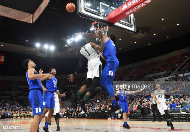Marvin Bagley III of the Duke Blue Devils blocks the shot of Tyrell Henderson of the Portland State Vikings during the second half of the game...