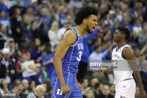 Marvin Bagley III of the Duke Blue Devils celebrates a three point basket against the Kansas Jayhawks during the second half in the 2018 NCAA Men's...