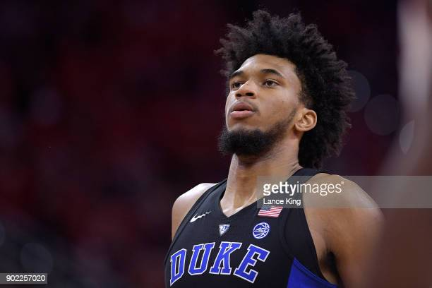 Marvin Bagley III of the Duke Blue Devils concentrates at the free throw line against the North Carolina State Wolfpack at PNC Arena on January 6...