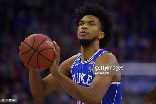 Marvin Bagley III of the Duke Blue Devils concentrates at the free throw line against the Kansas Jayhawks during the 2018 NCAA Men's Basketball...