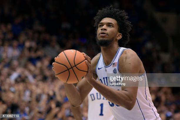 Marvin Bagley III of the Duke Blue Devils concentrates at the freethrow line against the Utah Valley Wolverines at Cameron Indoor Stadium on November...