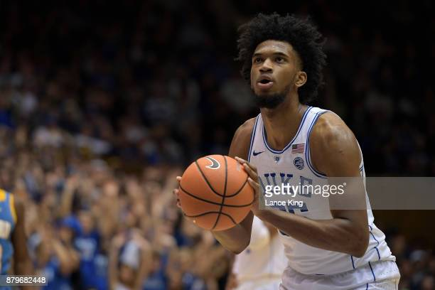Marvin Bagley III of the Duke Blue Devils concentrates at the freethrow line against the Southern Jaguars at Cameron Indoor Stadium on November 17...
