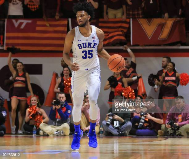 Marvin Bagley III of the Duke Blue Devils dribbles down the court in the first half against the Virginia Tech Hokies at Cassell Coliseum on February...