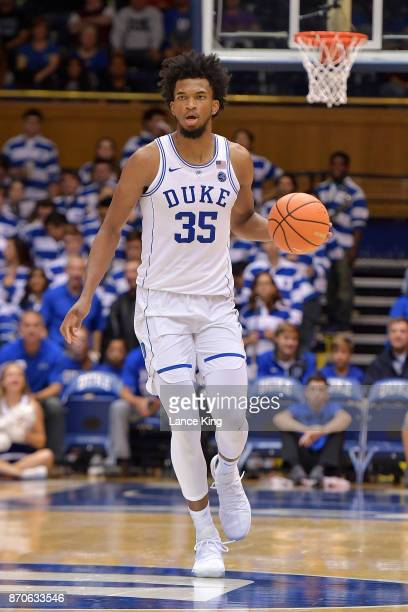 Marvin Bagley III of the Duke Blue Devils dribbles up court against the Bowie State Bulldogs at Cameron Indoor Stadium on November 4 2017 in Durham...