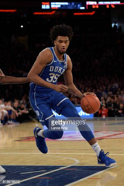 Marvin Bagley III of the Duke Blue Devils drives against the St John's Red Storm at Madison Square Garden on February 3 2018 in New York City St...