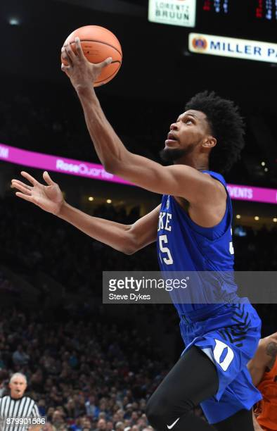Marvin Bagley III of the Duke Blue Devils drives to the basket in the second half of the game against the Florida Gators during the PK80Phil Knight...
