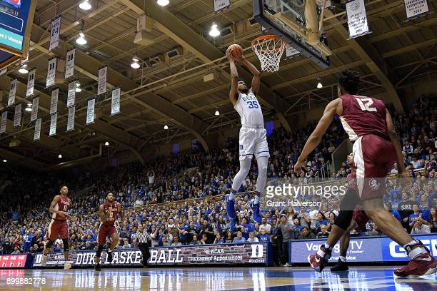 Marvin Bagley III of the Duke Blue Devils dunks against the Florida State Seminoles during their game at Cameron Indoor Stadium on December 30, 2017...