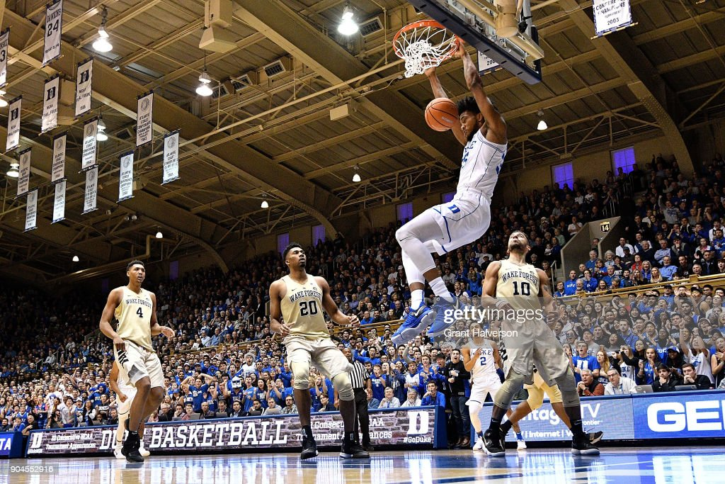 Marvin Bagley III #35 of the Duke Blue Devils dunks against the Wake Forest Demon Deacons during their game at Cameron Indoor Stadium on January 13, 2018 in Durham, North Carolina.