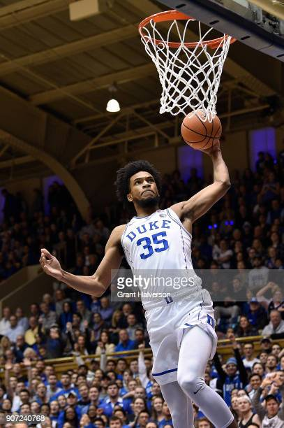 Marvin Bagley III of the Duke Blue Devils dunks against the Wake Forest Demon Deacons during their game at Cameron Indoor Stadium on January 13 2018...