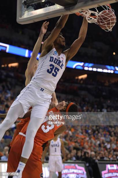 Marvin Bagley III of the Duke Blue Devils dunks the ball against Paschal Chukwu of the Syracuse Orange during the 2018 NCAA Men's Basketball...