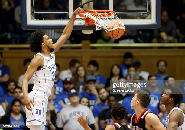 Marvin Bagley III of the Duke Blue Devils dunks the ball against the St Francis Red Flash during their game at Cameron Indoor Stadium on December 5...