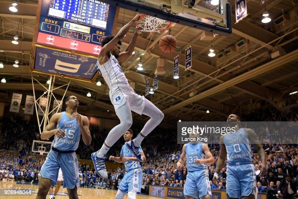 Marvin Bagley III of the Duke Blue Devils dunks the ball against the North Carolina Tar Heels at Cameron Indoor Stadium on March 3, 2018 in Durham,...