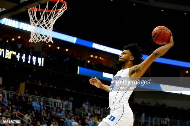 Marvin Bagley III of the Duke Blue Devils dunks the ball against the Rhode Island Rams during the second half in the second round of the 2018 NCAA...