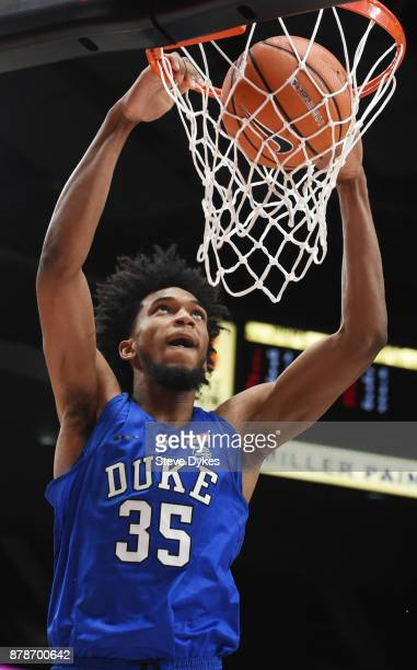 Marvin Bagley III of the Duke Blue Devils dunks the ball during the second half of the game against the Texas Longhorns during the PK80Phil Knight...