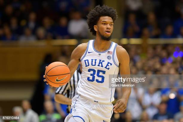 Marvin Bagley III of the Duke Blue Devils during their game against the Southern University Jaguars at Cameron Indoor Stadium on November 17 2017 in...
