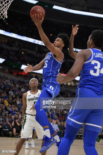 Marvin Bagley III of the Duke Blue Devils goes to the basket against the Michigan State Spartans during the Champions Classic at United Center on...