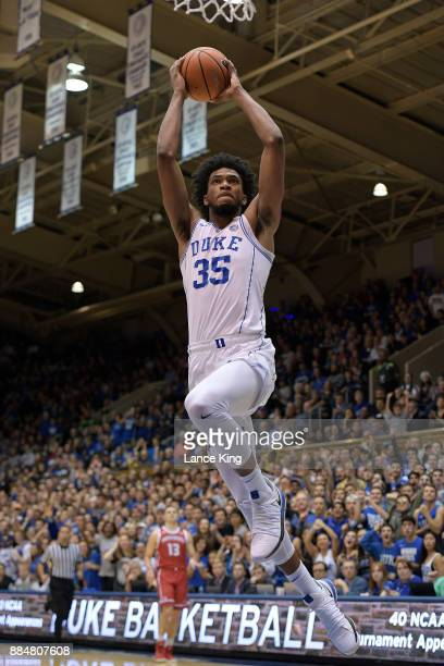 Marvin Bagley III of the Duke Blue Devils goes up for a dunk against the South Dakota Coyotes at Cameron Indoor Stadium on December 2 2017 in Durham...