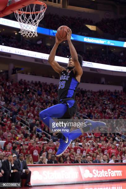 Marvin Bagley III of the Duke Blue Devils goes up for a dunk against the North Carolina State Wolfpack at PNC Arena on January 6 2018 in Raleigh...