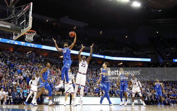 Marvin Bagley III of the Duke Blue Devils grabs the rebound away from Silvio De Sousa of the Kansas Jayhawks in the 2018 NCAA Men's Basketball...