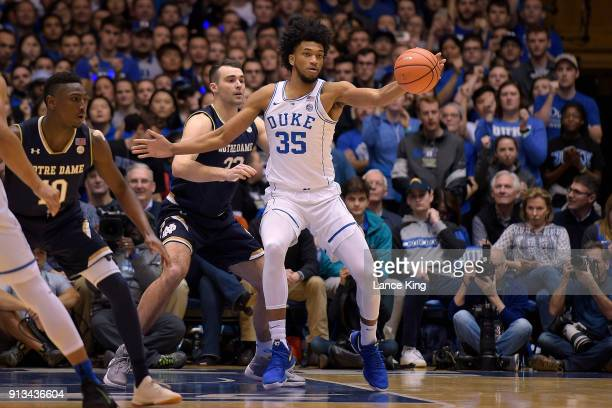 Marvin Bagley III of the Duke Blue Devils in action against John Mooney of the Notre Dame Fighting Irish at Cameron Indoor Stadium on January 29 2018...