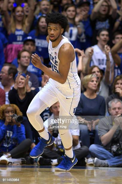 Marvin Bagley III of the Duke Blue Devils in action against the Virginia Cavaliers at Cameron Indoor Stadium on January 27 2018 in Durham North...