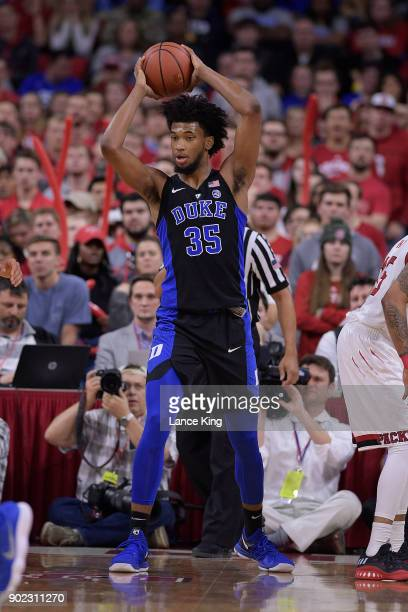 Marvin Bagley III of the Duke Blue Devils in action against the North Carolina State Wolfpack at PNC Arena on January 6 2018 in Raleigh North...