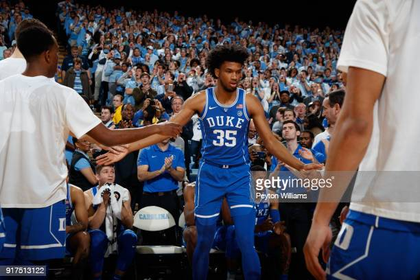 Marvin Bagley III of the Duke Blue Devils is introduced before action against the North Carolina Tar Heels on February 08 2018 at the Dean Smith...
