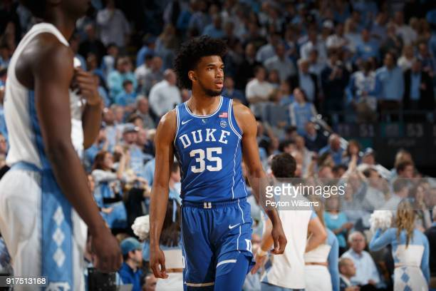 Marvin Bagley III of the Duke Blue Devils looks on during a game against the North Carolina Tar Heels on February 08 2018 at the Dean Smith Center in...