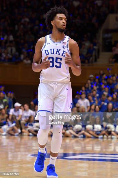 Marvin Bagley III of the Duke Blue Devils looks on during Duke Countdown To Craziness at Cameron Indoor Stadium on October 20 2017 in Durham North...