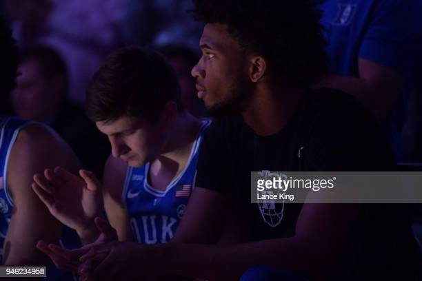Marvin Bagley III of the Duke Blue Devils looks on during player introductions prior to their game against the Kansas Jayhawks during the 2018 NCAA...