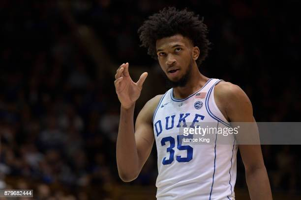 Marvin Bagley III of the Duke Blue Devils looks on during their game against the Southern Jaguars at Cameron Indoor Stadium on November 17 2017 in...