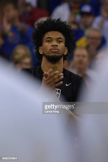 Marvin Bagley III of the Duke Blue Devils looks on prior to their game against the Kansas Jayhawks during the 2018 NCAA Men's Basketball Tournament...