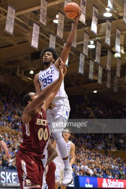 Marvin Bagley III of the Duke Blue Devils puts up a shot against Brian Dawkins of the Elon Phoenix at Cameron Indoor Stadium on November 10 2017 in...