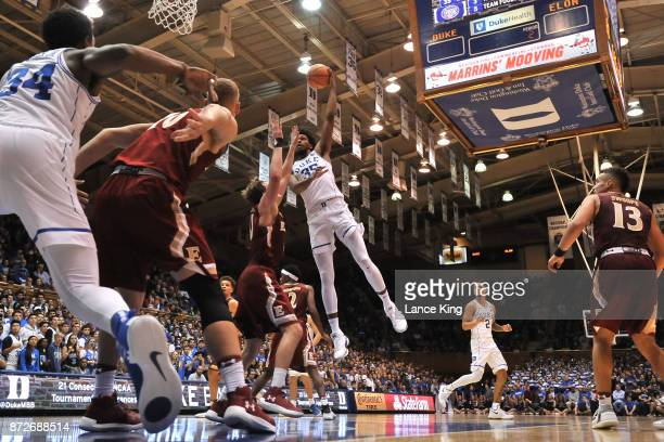 Marvin Bagley III of the Duke Blue Devils puts up a shot against the Elon Phoenix at Cameron Indoor Stadium on November 10 2017 in Durham North...