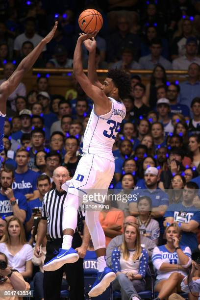 Marvin Bagley III of the Duke Blue Devils puts up a shot during Duke Countdown To Craziness at Cameron Indoor Stadium on October 20 2017 in Durham...