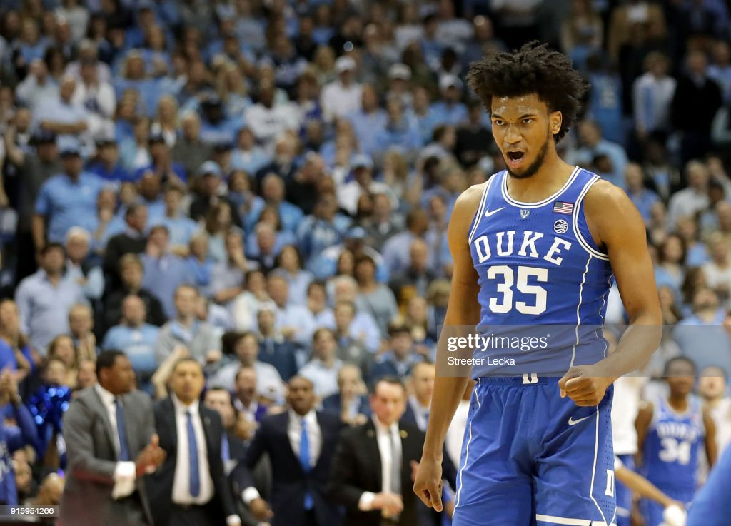 Marvin Bagley III #35 of the Duke Blue Devils reacts after a play against the North Carolina Tar Heels during their game at Dean Smith Center on February 8, 2018 in Chapel Hill, North Carolina.