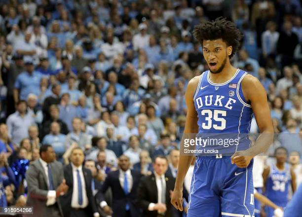 Marvin Bagley III of the Duke Blue Devils reacts after a play against the North Carolina Tar Heels during their game at Dean Smith Center on February...