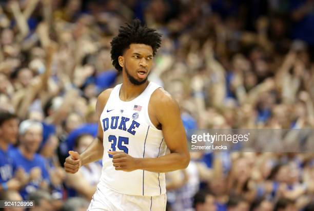 Marvin Bagley III of the Duke Blue Devils reacts after a play against the Syracuse Orange during their game at Cameron Indoor Stadium on February 24...
