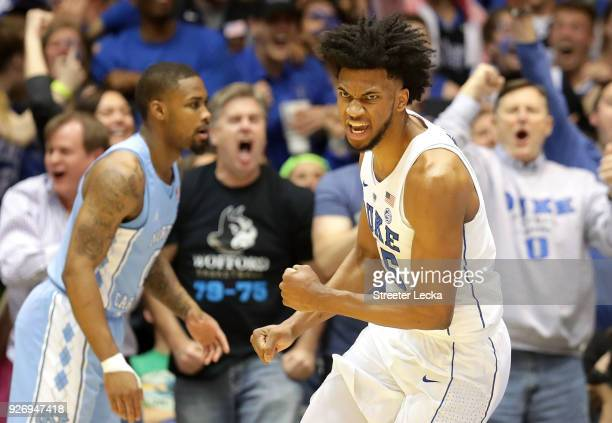 Marvin Bagley III of the Duke Blue Devils reacts after a play against the North Carolina Tar Heels during their game at Cameron Indoor Stadium on...